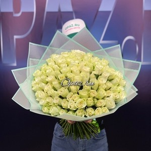 101 роза 40см Premium №РС-131 в оформлении.