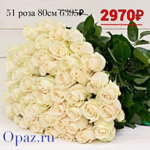Р-018 Букет 51 белая роза 80см.