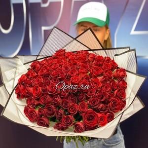 101 роза Premium 40см №РС-134 в оформлении.