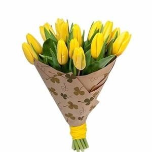 Букет желтых тюльпанов 15 шт. в упаковке