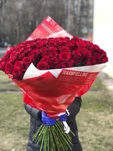 Букет 101 роза 70см в оформлении № АА - 001