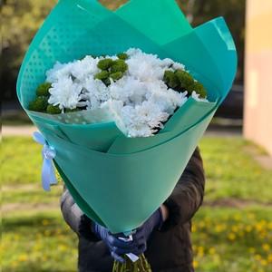 Букет из 11 хризантем в оформлении № ВС 003