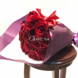 15 роз Голландия Premium оформлении №РС-069 Роза 50см