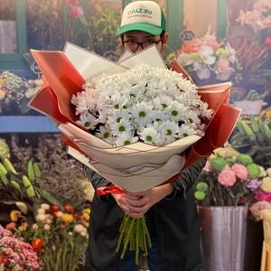 Букет 15 хризантем в оформлении № Х-060