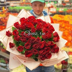 51 роза Голландия Premium в оформлении №РС-129 50см