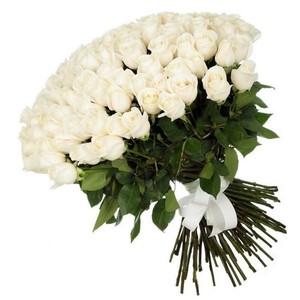 101 белая роза 60 см. Акция