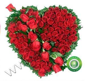 № A-712 Букет цветов Сердце из 75 роз