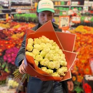 51 роза 40см Кения Standart  №РС-123 в оформлении.