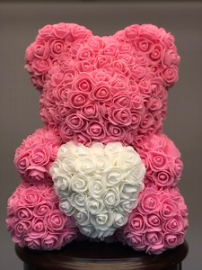 Мишка из роз розовый 40см в подарочной коробке № М004