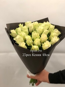 25 белых роз 40 см.