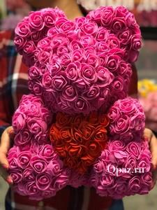 Мишка Розовый Красное сердце