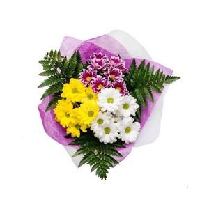 А-093 Букет 3 куст хризантемы зелень в оформлении
