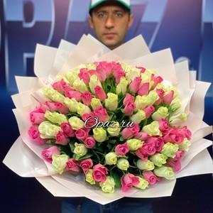 101 роза Premium 40см №РС-114 в оформлении.
