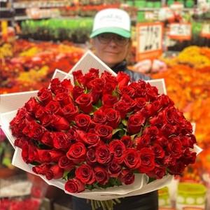 101 роза 40см Premium №РС-134 в оформлении.