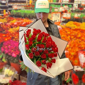 51 роза Premium 40см в оформлении №РС-122