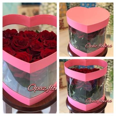 Шляпная коробка розовая 15 роз