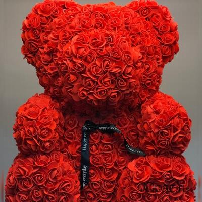 Мишка из роз красный 70см в подарочной коробке № М002