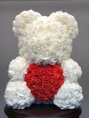 Мишка из роз белый 40см в подарочной коробке № М003