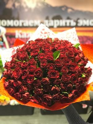 101 красная роза Кения 40см