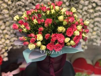 Шляпная коробка темнокрасная 25 кустовых роз