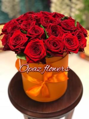 Шляпная коробка оранжевая 25 роз