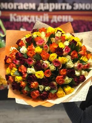101 роза микс Кения 40 см