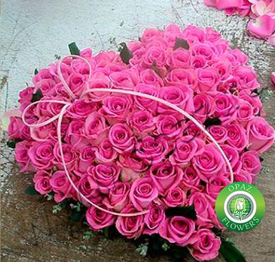 № A-704 Букет сердце из 101 розовой розы