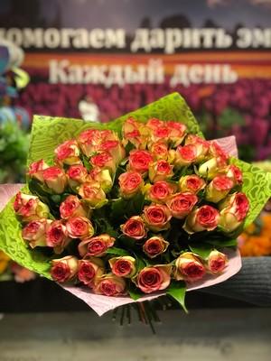 51 розовая роза Кения 40 см